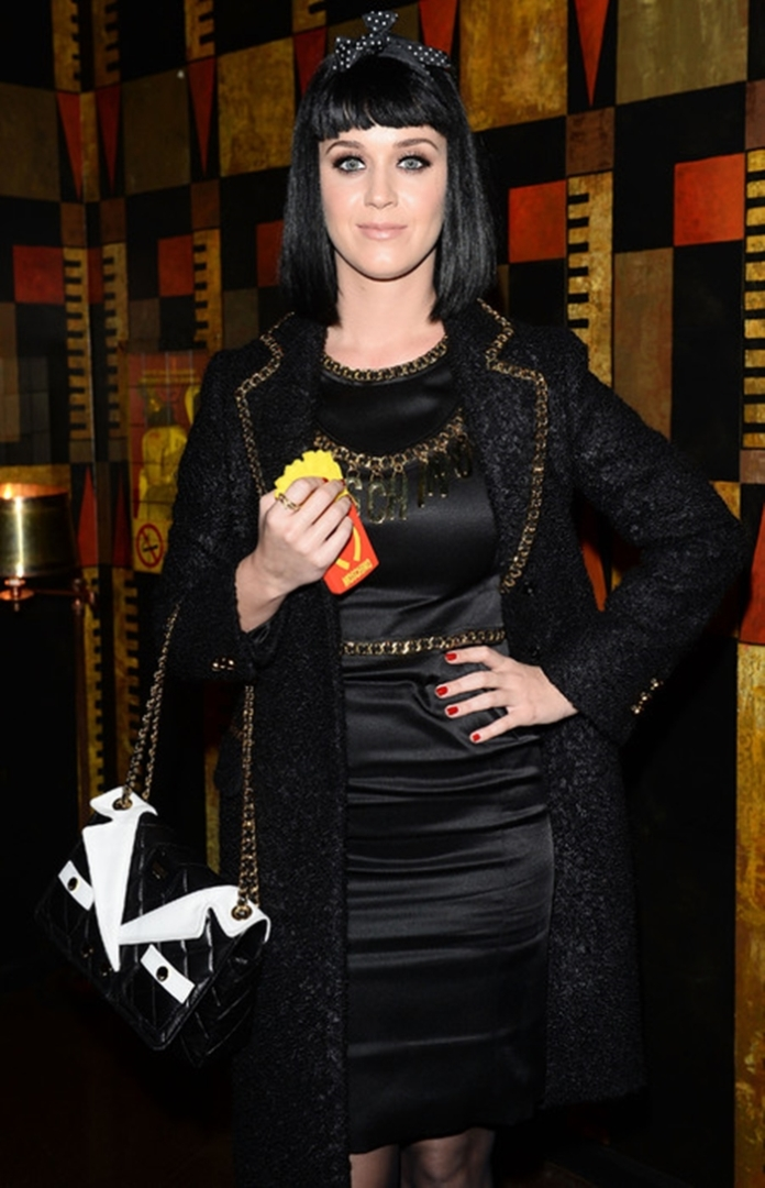 katy-perry-moschino-biker-jacket-handbag-mcdonalds-chips-phonce-case-milan-fashion-week-aw14