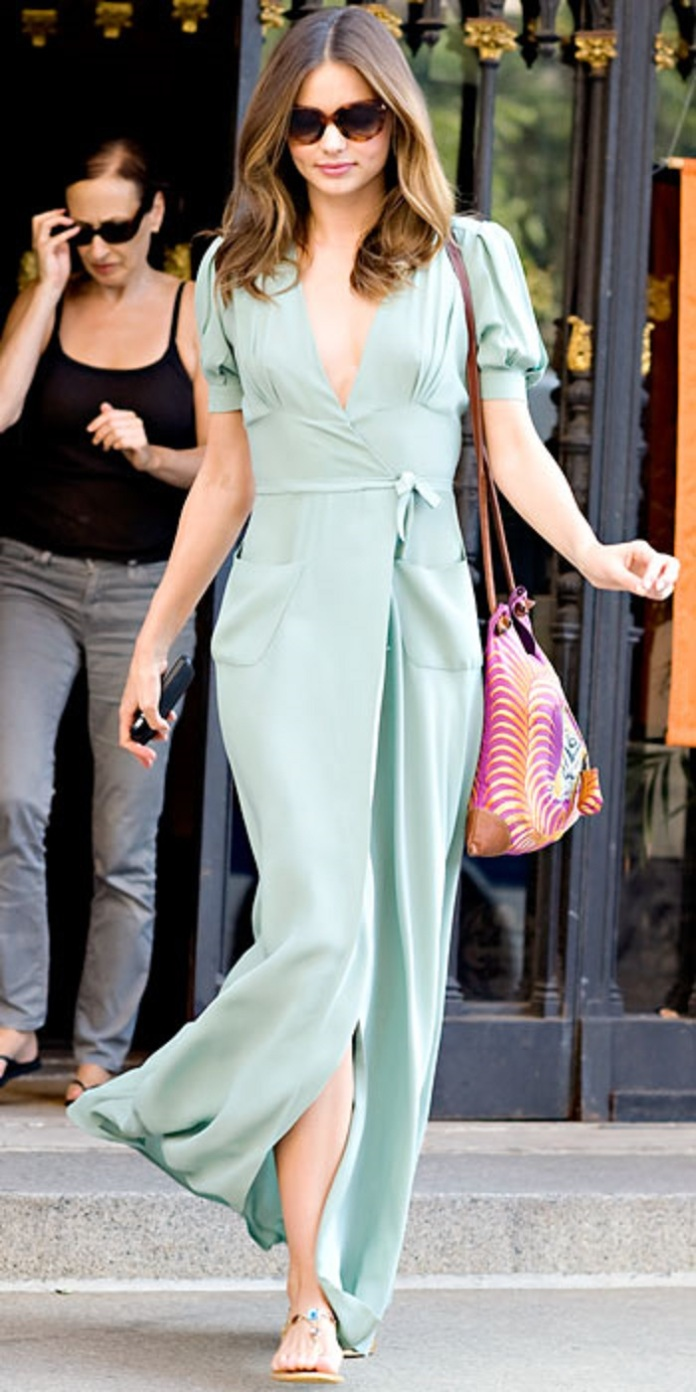 miranda-kerr-in-a-mint-maxi-dress-with-tote-jeweled-sandals